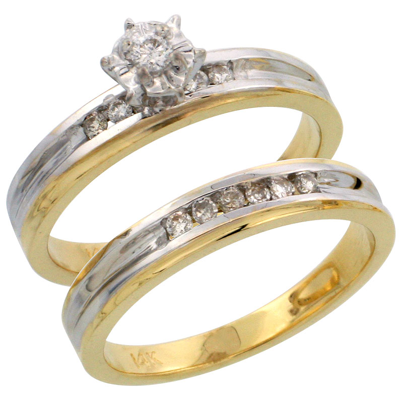 14k Gold 2-Piece Diamond Engagement Ring Set w/ Rhodium Accent, w/ 0.21 Carat Brilliant Cut Diamonds, 1/8 in. (3.5mm) wide