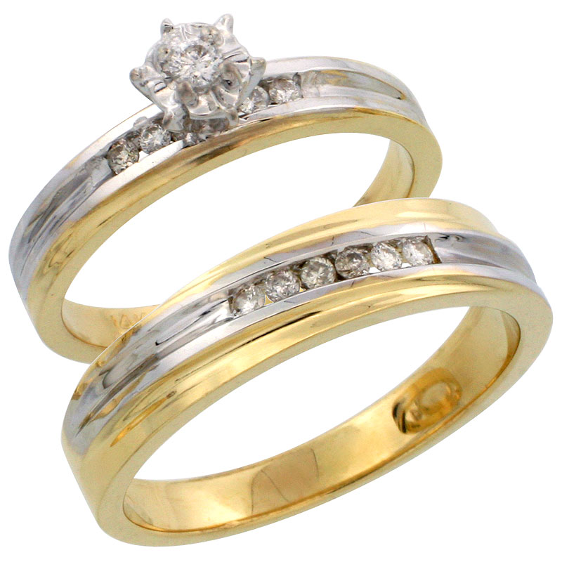 14k Gold 2-Piece Diamond Ring Set w/ Rhodium Accent ( Engagement Ring & Man's Wedding Band ), w/ 0.21 Carat Brilliant Cut Diamonds, ( 3.5mm; 5mm ) wide