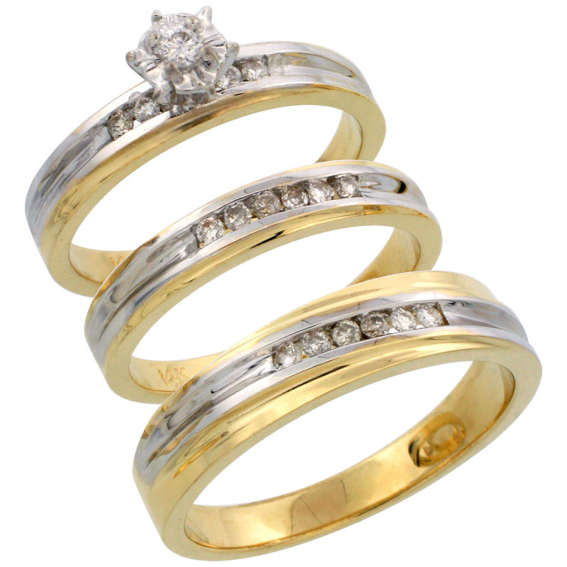 14k Gold 3-Piece Trio His (5mm) & Hers (3.5mm) Diamond Wedding Band Set w/ Rhodium Accent, w/ 0.30 Carat Brilliant Cut Diamonds; (Ladies Size 5 to10; Men's Size 8 to 14)