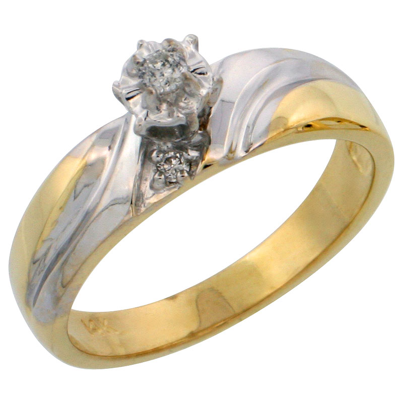 14k Gold Diamond Engagement Ring w/ Rhodium Accent, w/ 0.10 Carat Brilliant Cut Diamonds, 3/16 in. (5mm) wide