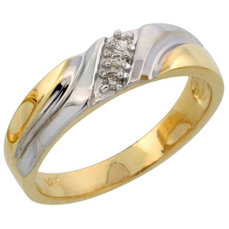 14k Gold Ladies' Diamond Band w/ Rhodium Accent, w/ 0.06 Carat Brilliant Cut Diamonds, 3/16 in. (5mm) wide