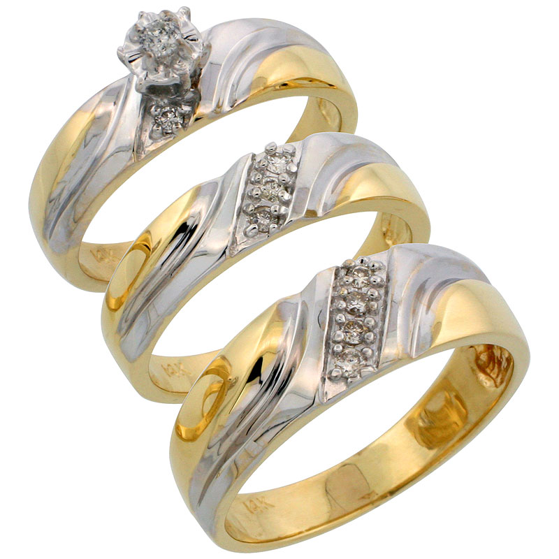 14k Gold 3-Piece Trio His (7mm) & Hers (5mm) Diamond Wedding Band Set w/ Rhodium Accent, w/ 0.24 Carat Brilliant Cut Diamonds; (Ladies Size 5 to10; Men's Size 8 to 14)