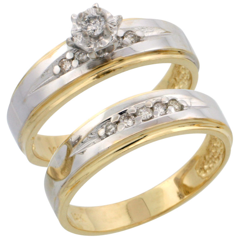 14k Gold 2-Piece Diamond Engagement Ring Set w/ Rhodium Accent, w/ 0.20 Carat Brilliant Cut Diamonds, 3/16 in. (5mm) wide