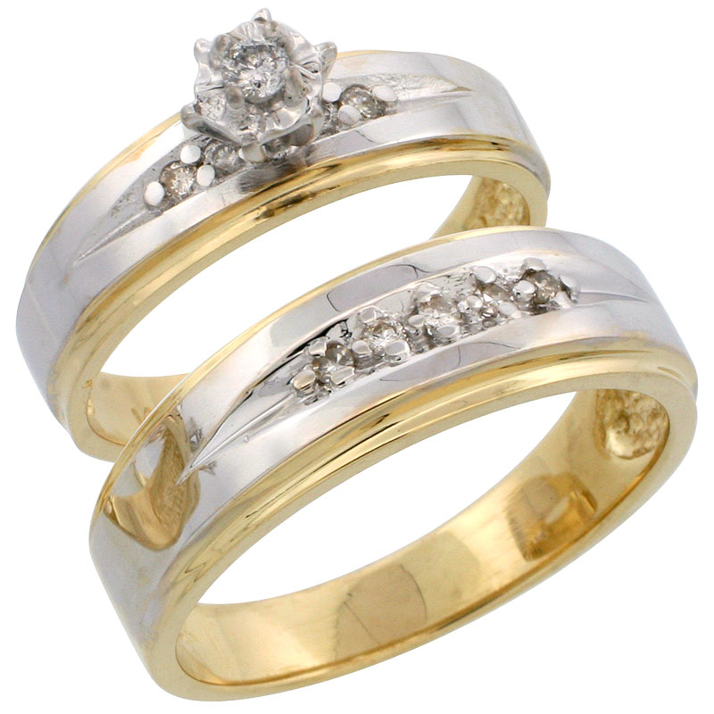 14k Gold 2-Piece Diamond Ring Set w/ Rhodium Accent ( Engagement Ring & Man's Wedding Band ), w/ 0.20 Carat Brilliant Cut Diamonds, ( 5mm; 7mm ) wide