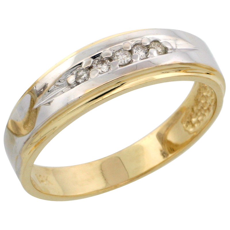 14k Gold Ladies' Diamond Band w/ Rhodium Accent, w/ 0.08 Carat Brilliant Cut Diamonds, 3/16 in. (5mm) wide