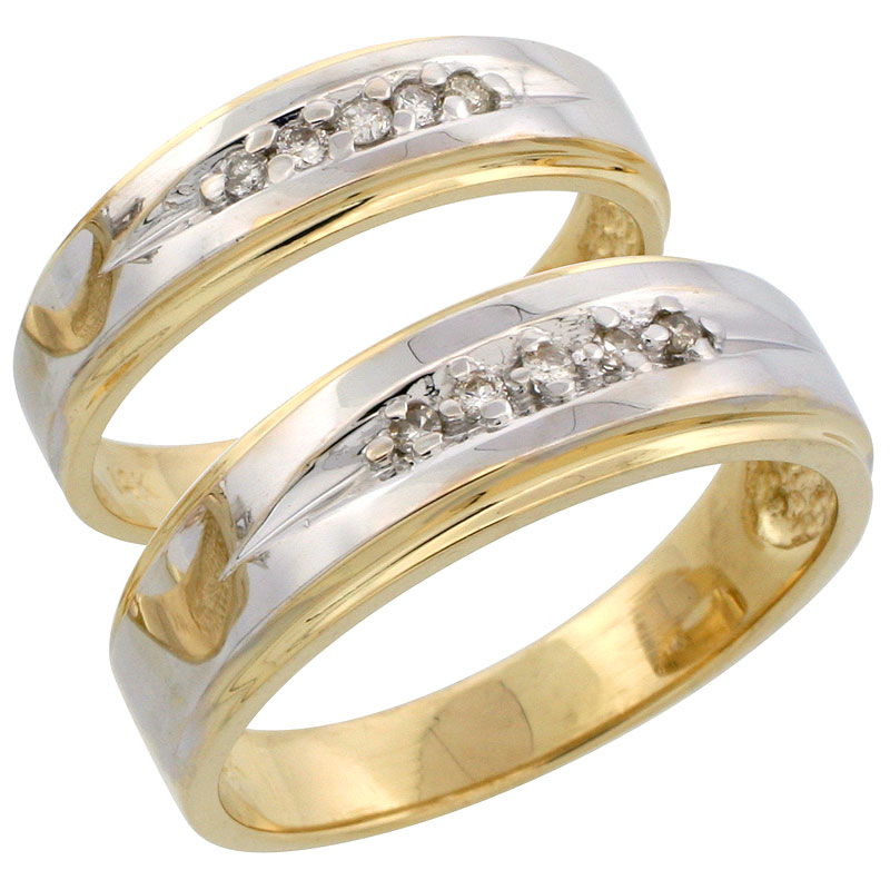 14k Gold 2-Piece His (7mm) & Hers (5mm) Diamond Wedding Band Set w/ Rhodium Accent, w/ 0.16 Carat Brilliant Cut Diamonds; (Ladies Size 5 to10; Men's Size 8 to 14)