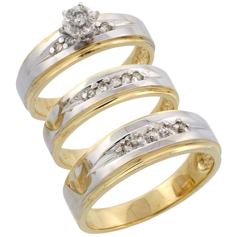 14k Gold 3-Piece Trio His (7mm) & Hers (5mm) Diamond Wedding Band Set w/ Rhodium Accent, w/ 0.28 Carat Brilliant Cut Diamonds; (Ladies Size 5 to10; Men's Size 8 to 14)