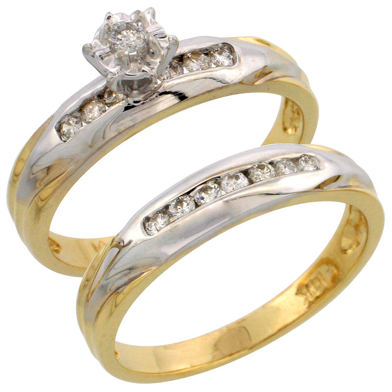 14k Gold 2-Piece Diamond Engagement Ring Set w/ Rhodium Accent, w/ 0.30 Carat Brilliant Cut Diamonds, 1/8 in. (3.5mm) wide