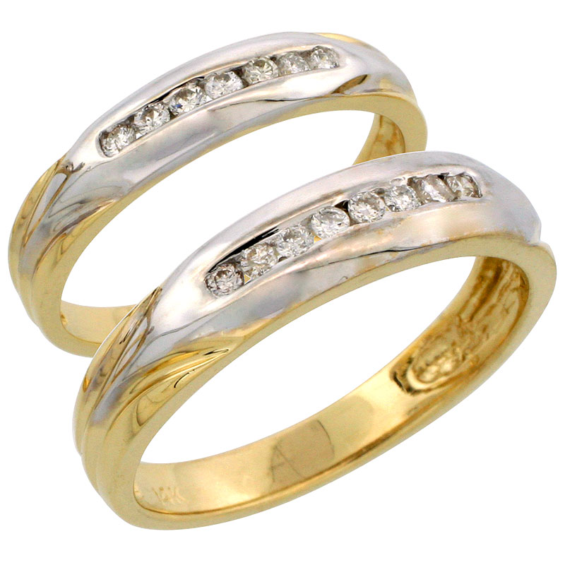 14k Gold 2-Piece His (5mm) & Hers (3.5mm) Diamond Wedding Band Set w/ Rhodium Accent, w/ 0.28 Carat Brilliant Cut Diamonds; (Ladies Size 5 to10; Men's Size 8 to 14)