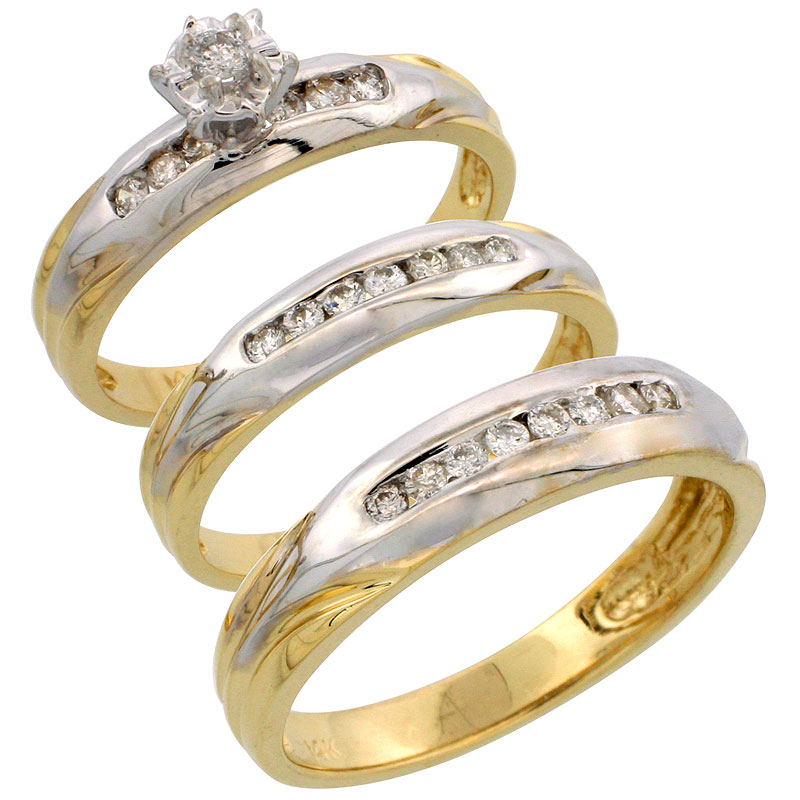 14k Gold 3-Piece Trio His (5mm) & Hers (3.5mm) Diamond Wedding Band Set w/ Rhodium Accent, w/ 0.45 Carat Brilliant Cut Diamonds; (Ladies Size 5 to10; Men's Size 8 to 14)