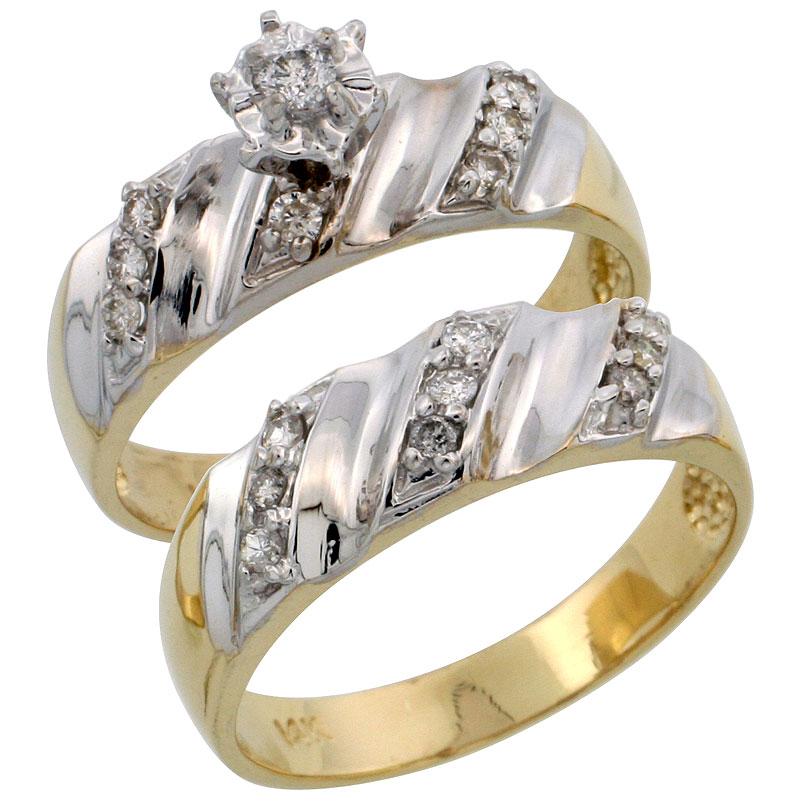 14k Gold 2-Piece Diamond Engagement Ring Set w/ Rhodium Accent, w/ 0.32 Carat Brilliant Cut Diamonds, 1/4 in. (6mm) wide