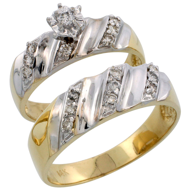 14k Gold 2-Piece Diamond Ring Set w/ Rhodium Accent ( Engagement Ring & Man's Wedding Band ), w/ 0.32 Carat Brilliant Cut Diamonds, ( 6mm; 7mm ) wide