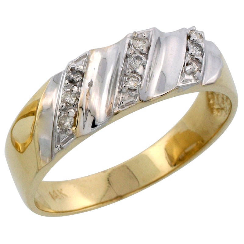 14k Gold Men's Diamond Band w/ Rhodium Accent, w/ 0.14 Carat Brilliant Cut Diamonds, 9/32 in. (7mm) wide