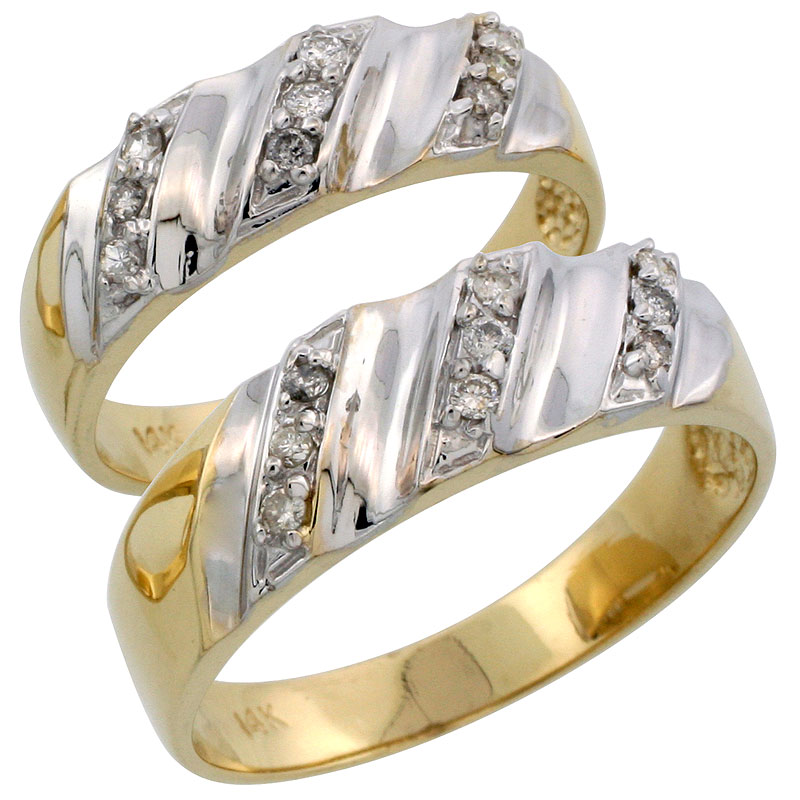 14k Gold 2-Piece His (7mm) & Hers (6mm) Diamond Wedding Band Set w/ Rhodium Accent, w/ 0.28 Carat Brilliant Cut Diamonds; (Ladies Size 5 to10; Men's Size 8 to 14)