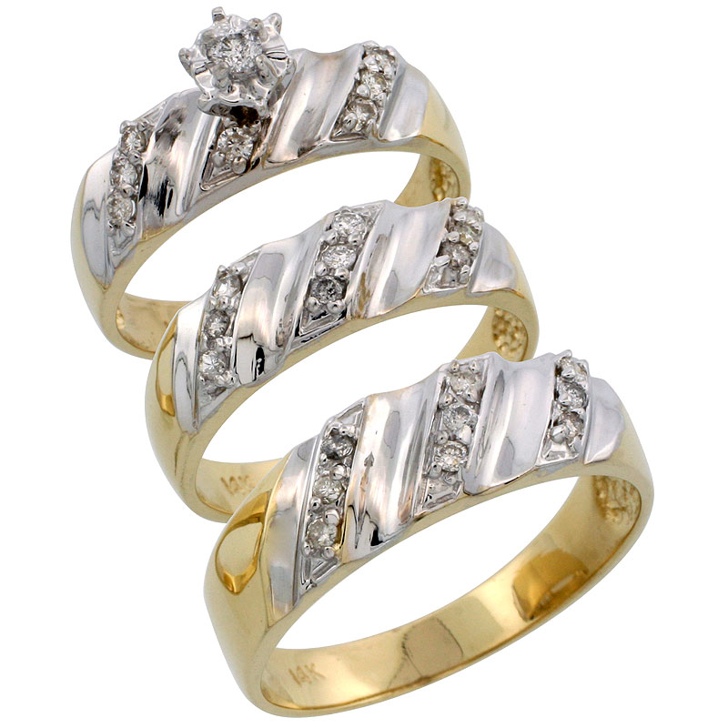 14k Gold 3-Piece Trio His (7mm) & Hers (6mm) Diamond Wedding Band Set w/ Rhodium Accent, w/ 0.46 Carat Brilliant Cut Diamonds; (Ladies Size 5 to10; Men's Size 8 to 14)