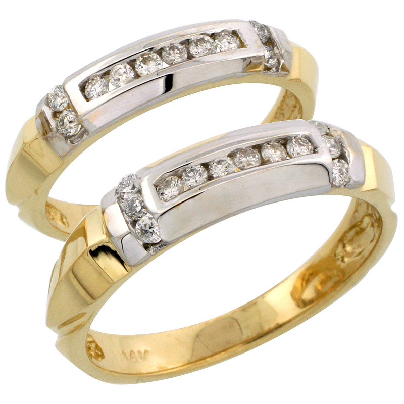 14k Gold 2-Piece His (5mm) & Hers (4mm) Diamond Wedding Band Set w/ Rhodium Accent, w/ 0.42 Carat Brilliant Cut Diamonds; (Ladies Size 5 to10; Men's Size 8 to 14)