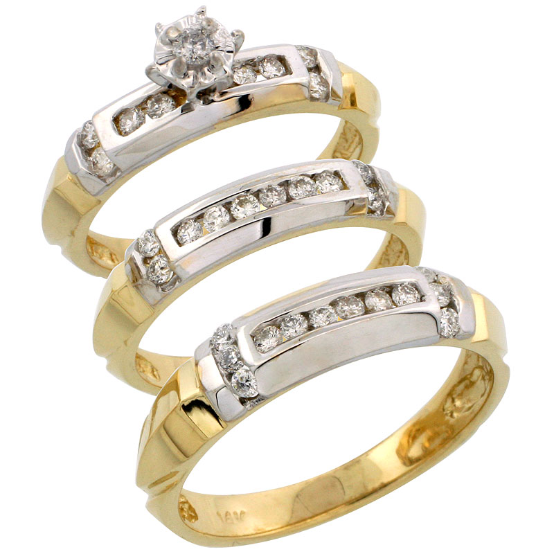 14k Gold 3-Piece Trio His (5mm) & Hers (4mm) Diamond Wedding Band Set w/ Rhodium Accent, w/ 0.63 Carat Brilliant Cut Diamonds; (Ladies Size 5 to10; Men's Size 8 to 14)
