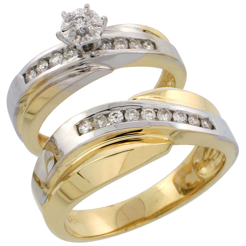 14k Gold 2-Piece Diamond Ring Set w/ Rhodium Accent ( Engagement Ring & Man's Wedding Band ), w/ 0.36 Carat Brilliant Cut Diamonds, ( 5mm; 8mm ) wide