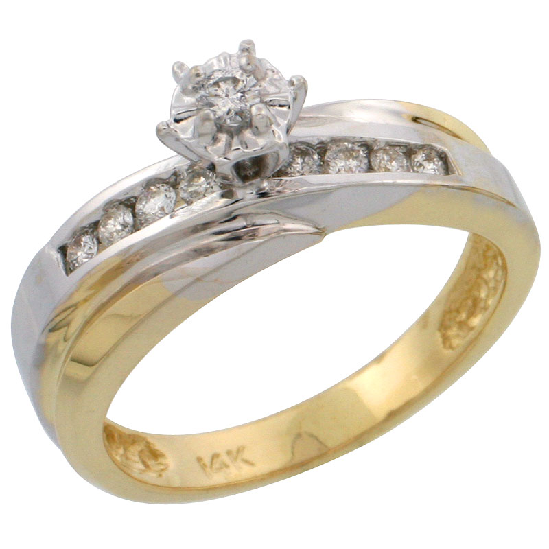 14k Gold Diamond Engagement Ring w/ Rhodium Accent, w/ 0.20 Carat Brilliant Cut Diamonds, 3/16 in. (5mm) wide