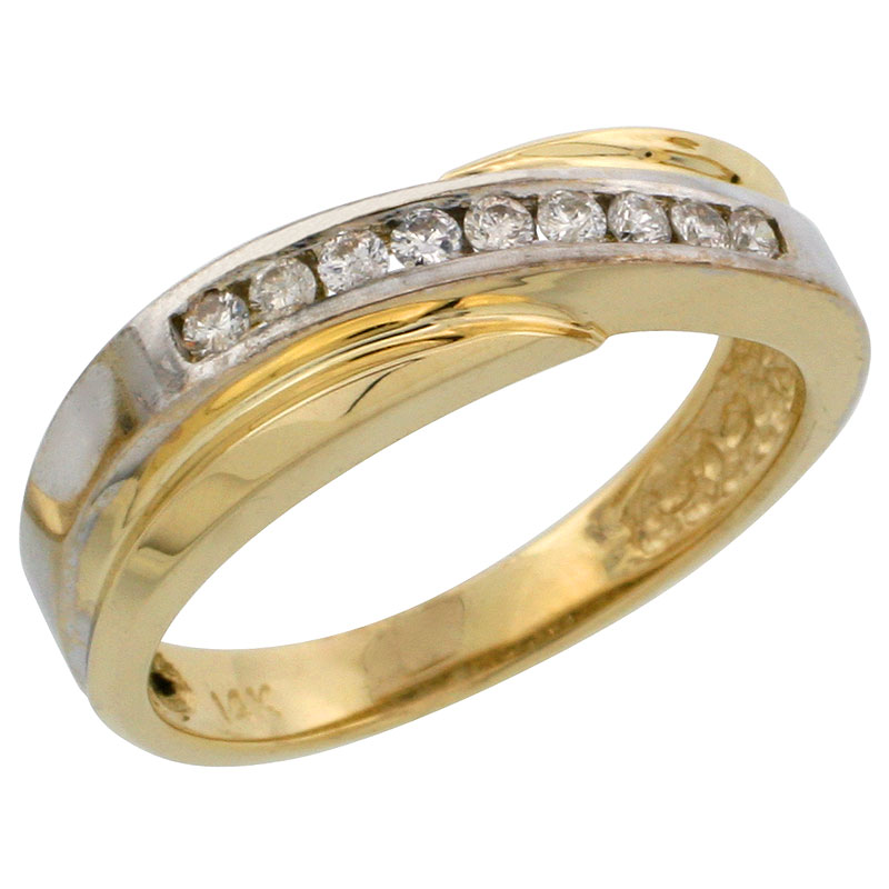 14k Gold Ladies' Diamond Band w/ Rhodium Accent, w/ 0.16 Carat Brilliant Cut Diamonds, 3/16 in. (5mm) wide