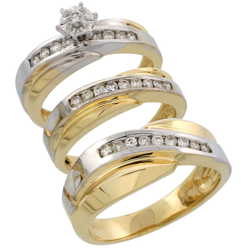 14k Gold 3-Piece Trio His (8mm) & Hers (5mm) Diamond Wedding Band Set w/ Rhodium Accent, w/ 0.52 Carat Brilliant Cut Diamonds; (Ladies Size 5 to10; Men's Size 8 to 14)