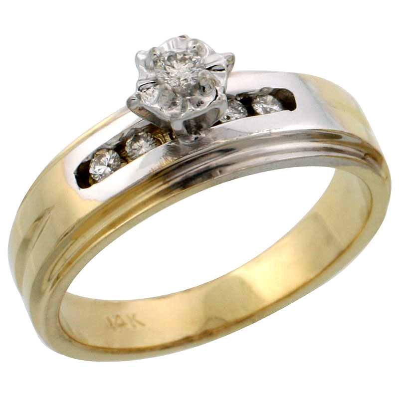 14k Gold Diamond Engagement Ring w/ Rhodium Accent, w/ 0.13 Carat Brilliant Cut Diamonds, 1/4 in. (6mm) wide