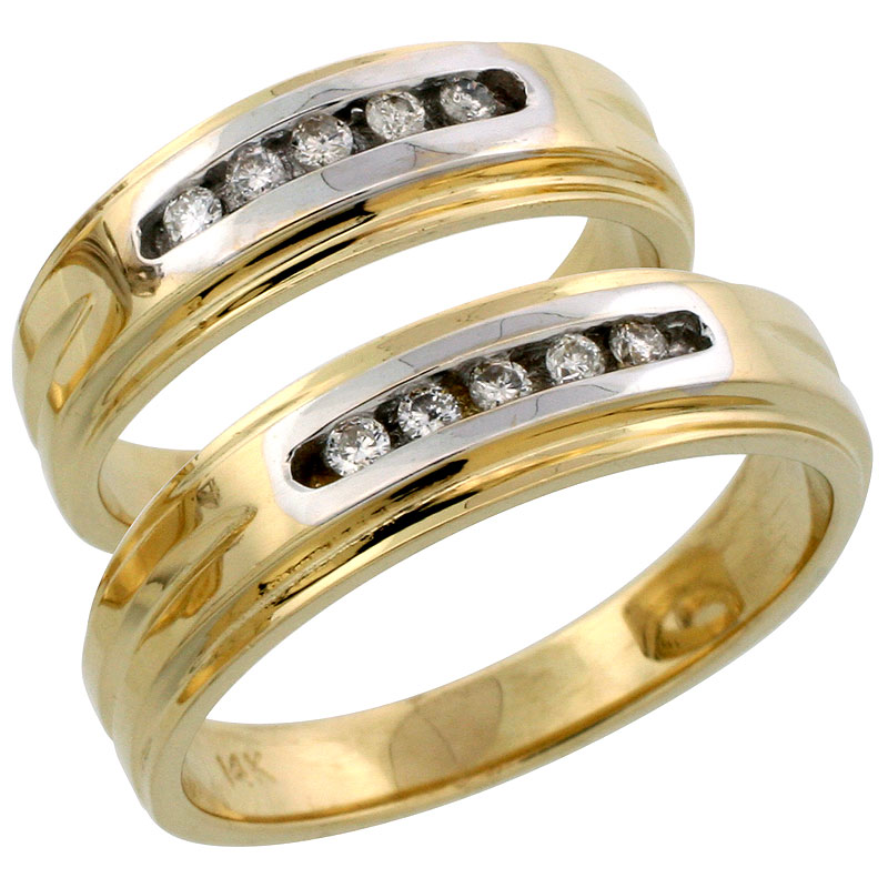 14k Gold 2-Piece His (6mm) & Hers (6mm) Diamond Wedding Band Set w/ Rhodium Accent, w/ 0.20 Carat Brilliant Cut Diamonds; (Ladies Size 5 to10; Men's Size 8 to 14)