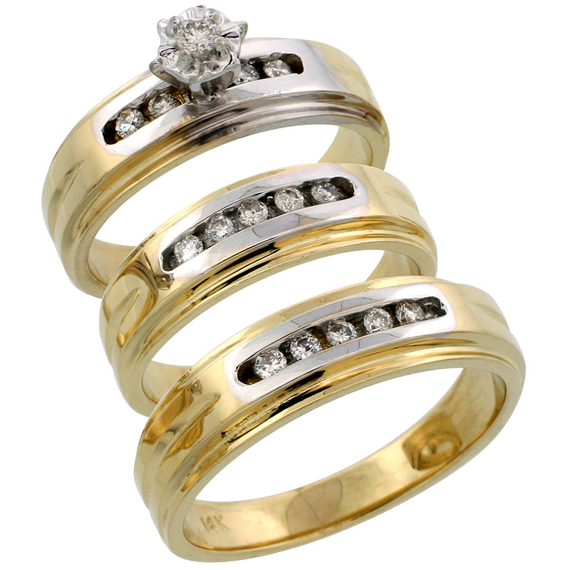 14k Gold 3-Piece Trio His (6mm) & Hers (6mm) Diamond Wedding Band Set w/ Rhodium Accent, w/ 0.33 Carat Brilliant Cut Diamonds; (Ladies Size 5 to10; Men's Size 8 to 14)