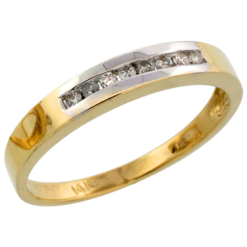 14k Gold Men's Diamond Band w/ Rhodium Accent, w/ 0.14 Carat Brilliant Cut Diamonds, 1/8 in. (3mm) wide