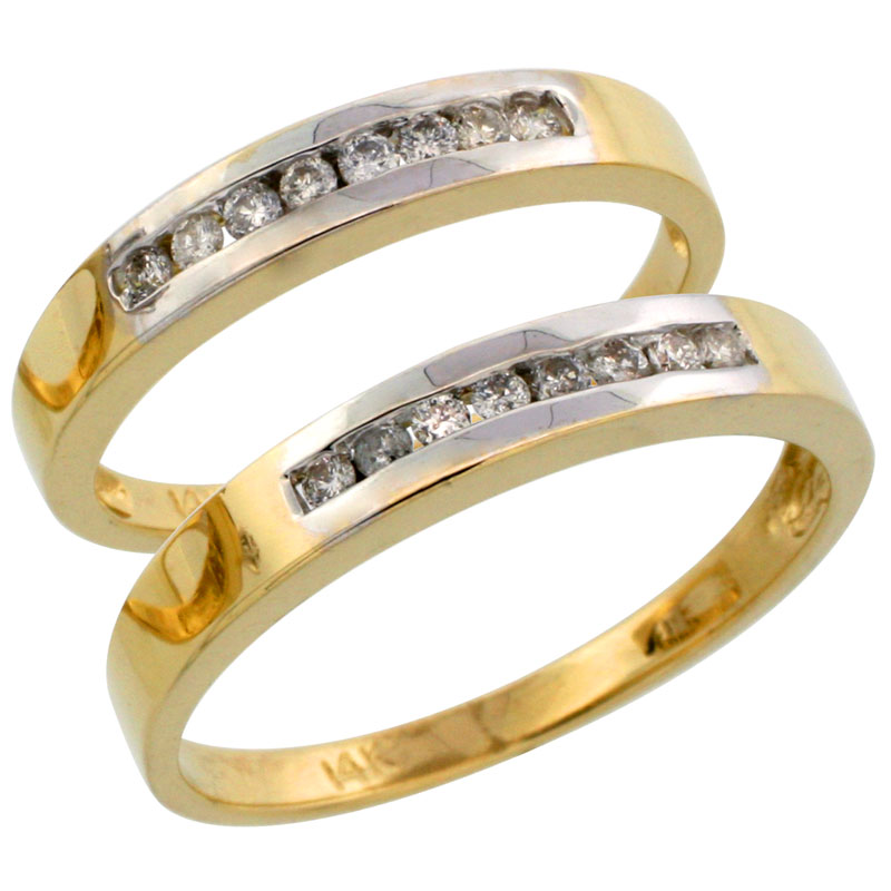 14k Gold 2-Piece His (3mm) & Hers (3mm) Diamond Wedding Band Set w/ Rhodium Accent, w/ 0.28 Carat Brilliant Cut Diamonds; (Ladies Size 5 to10; Men's Size 8 to 14)