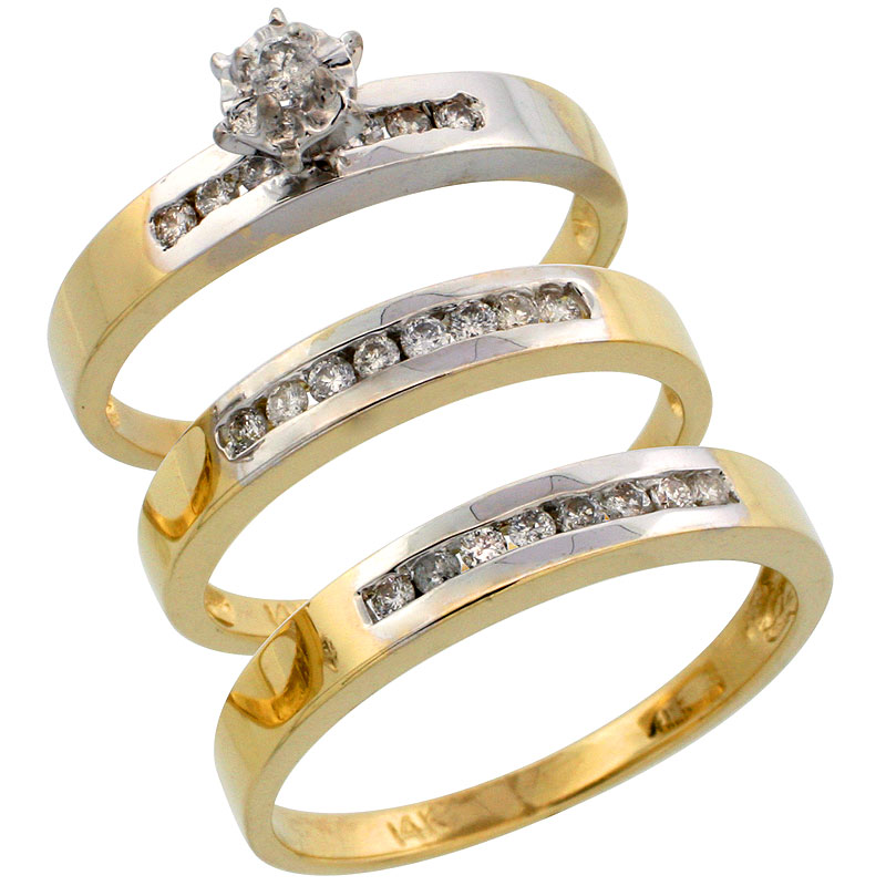 14k Gold 3-Piece Trio His (3mm) & Hers (3mm) Diamond Wedding Band Set w/ Rhodium Accent, w/ 0.45 Carat Brilliant Cut Diamonds; (Ladies Size 5 to10; Men's Size 8 to 14)