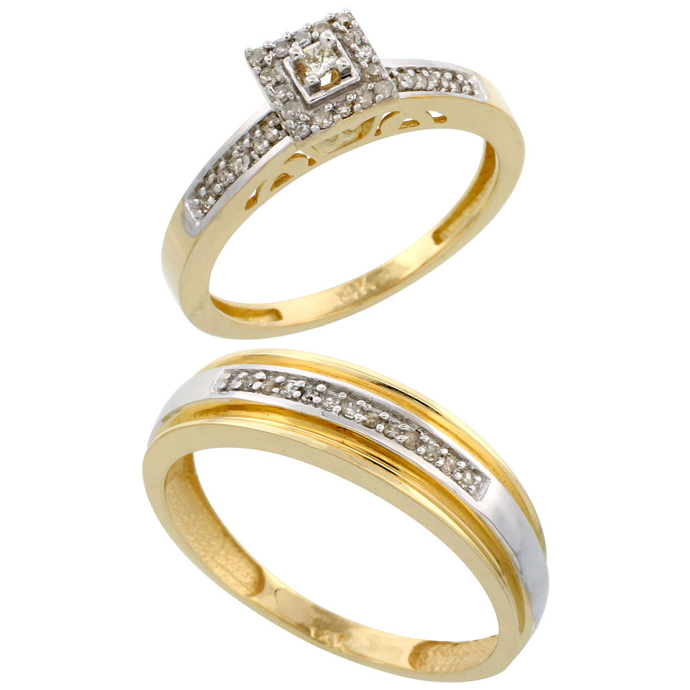 14k Gold 2-Piece Diamond Ring Set ( Engagement Ring & Man's Wedding Band ), w/ 0.25 Carat Brilliant Cut Diamonds, ( 2. 5mm; 6mm ) wide