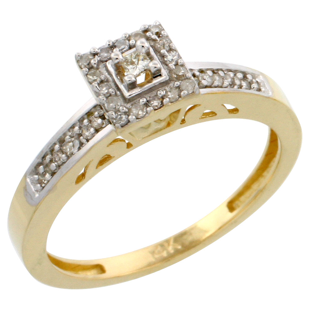 14k Gold Diamond Engagement Ring, w/ 0.19 Carat Brilliant Cut Diamonds, 3/32 in. (2.5mm) wide