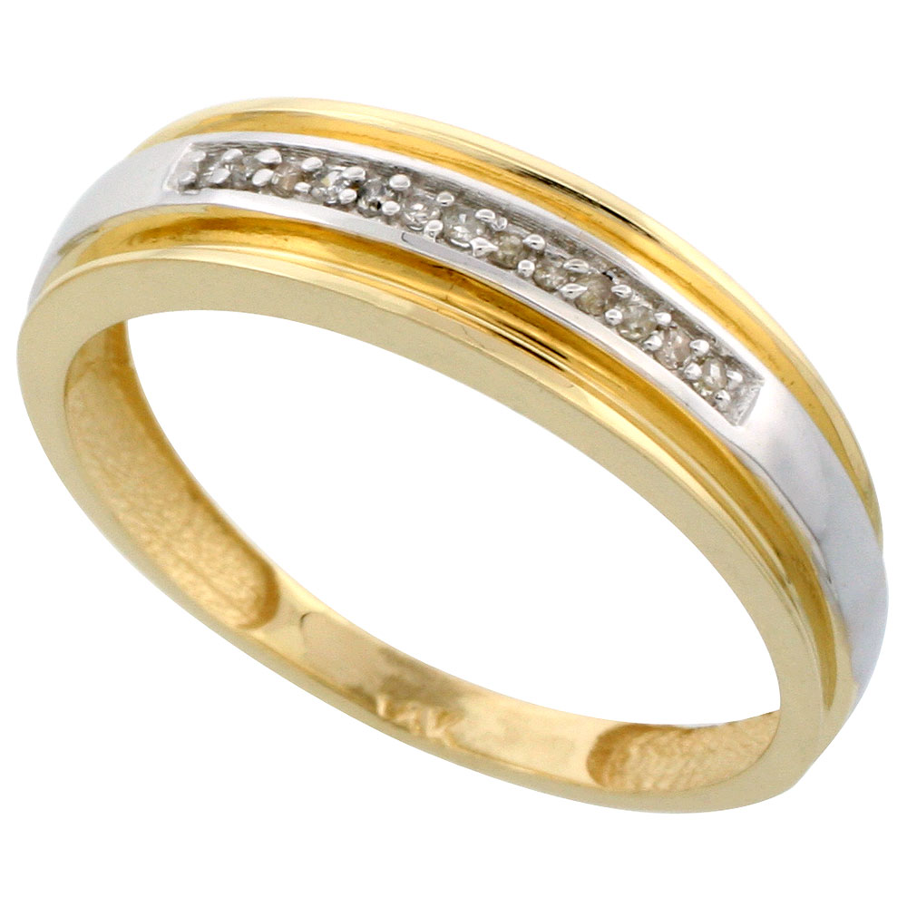 14k Gold Men's Diamond Band, w/ 0.06 Carat Brilliant Cut Diamonds, 1/4 in. (6mm) wide
