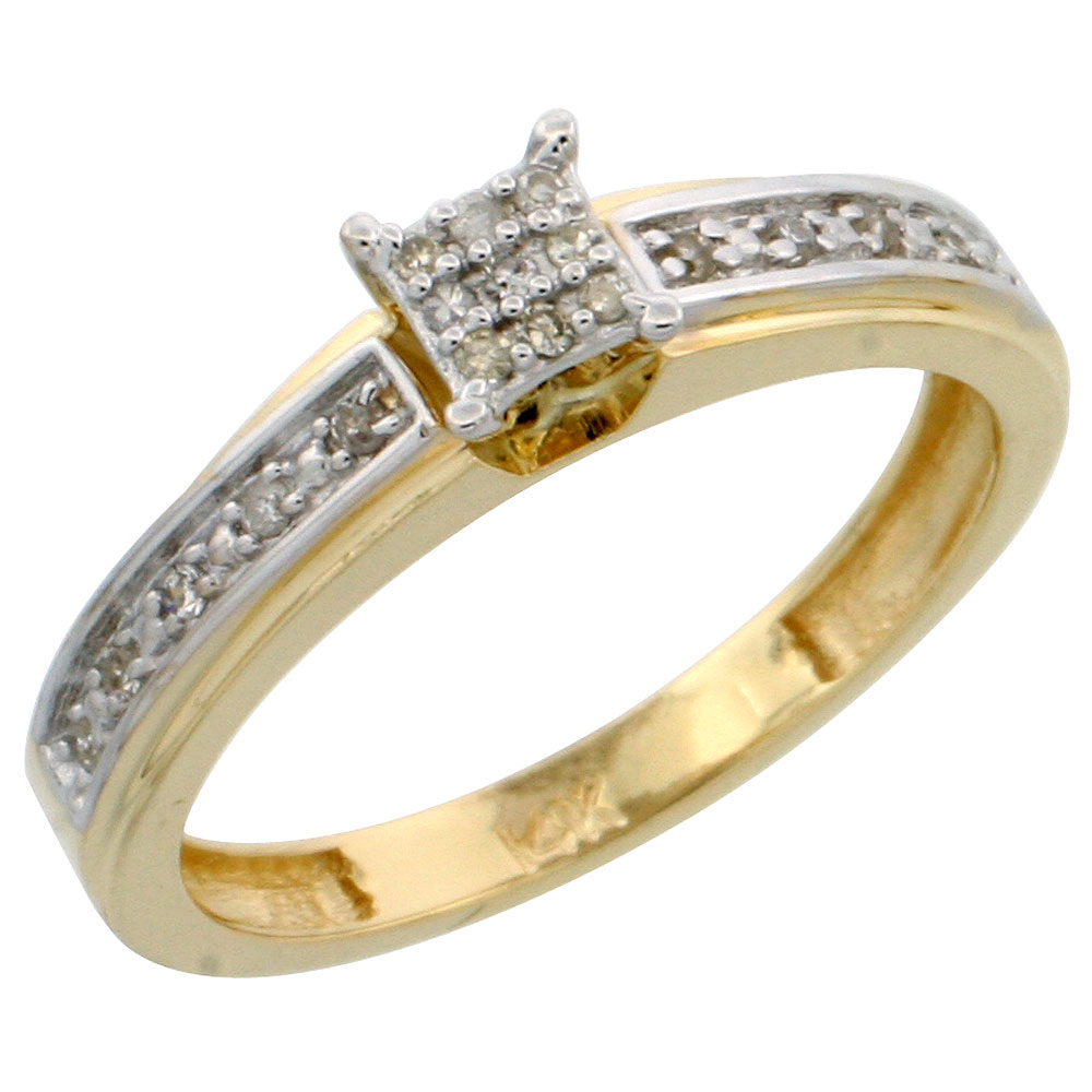 14k Gold Diamond Engagement Ring, w/ 0.13 Carat Brilliant Cut Diamonds, 5/32 in. (4mm) wide