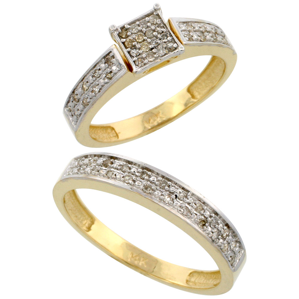 14k Gold 2-Piece Diamond Ring Set ( Engagement Ring & Man's Wedding Band ), w/ 0.24 Carat Brilliant Cut Diamonds, 5/32 in. (4mm) wide