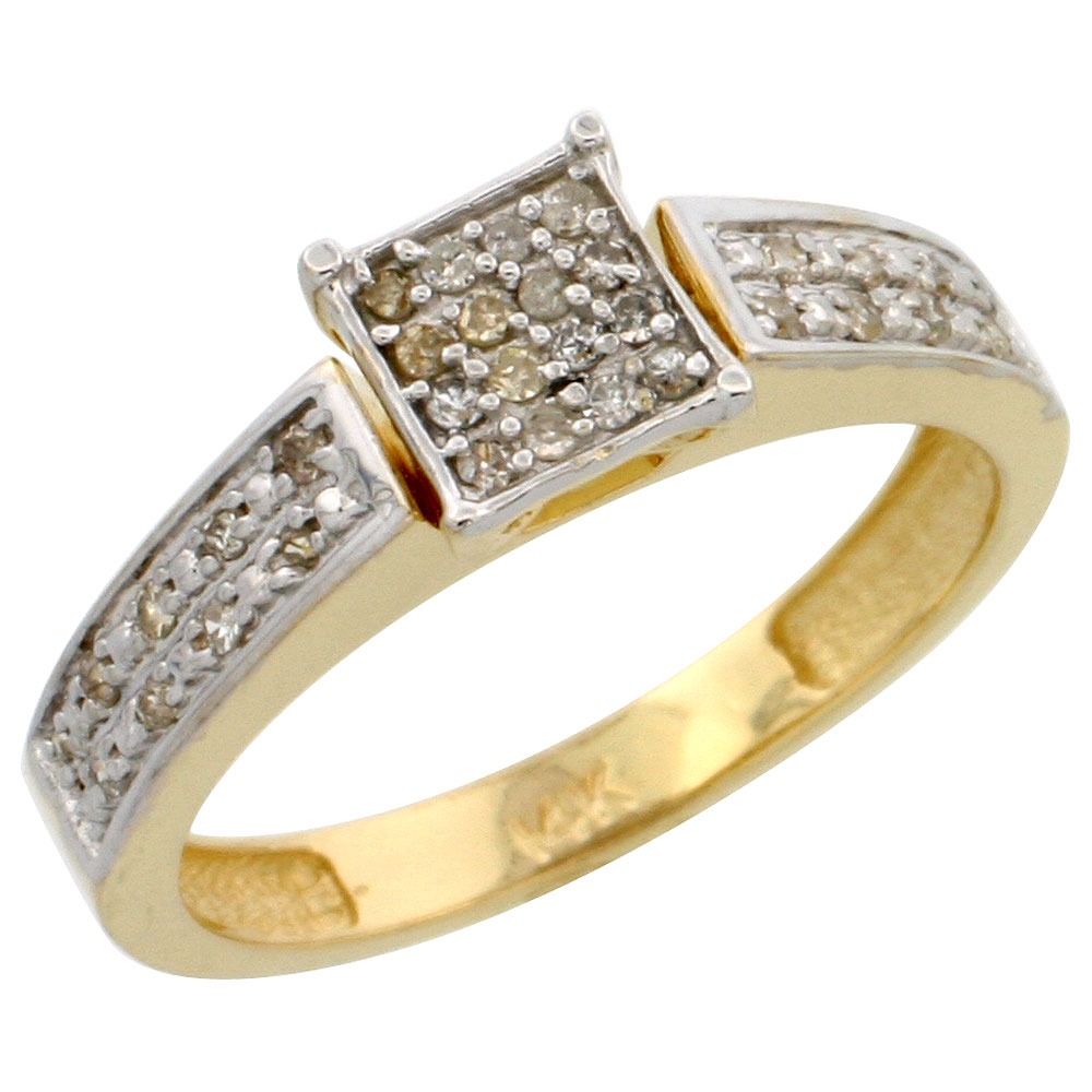 14k Gold Diamond Engagement Ring, w/ 0.14 Carat Brilliant Cut Diamonds, 5/32 in. (4mm) wide