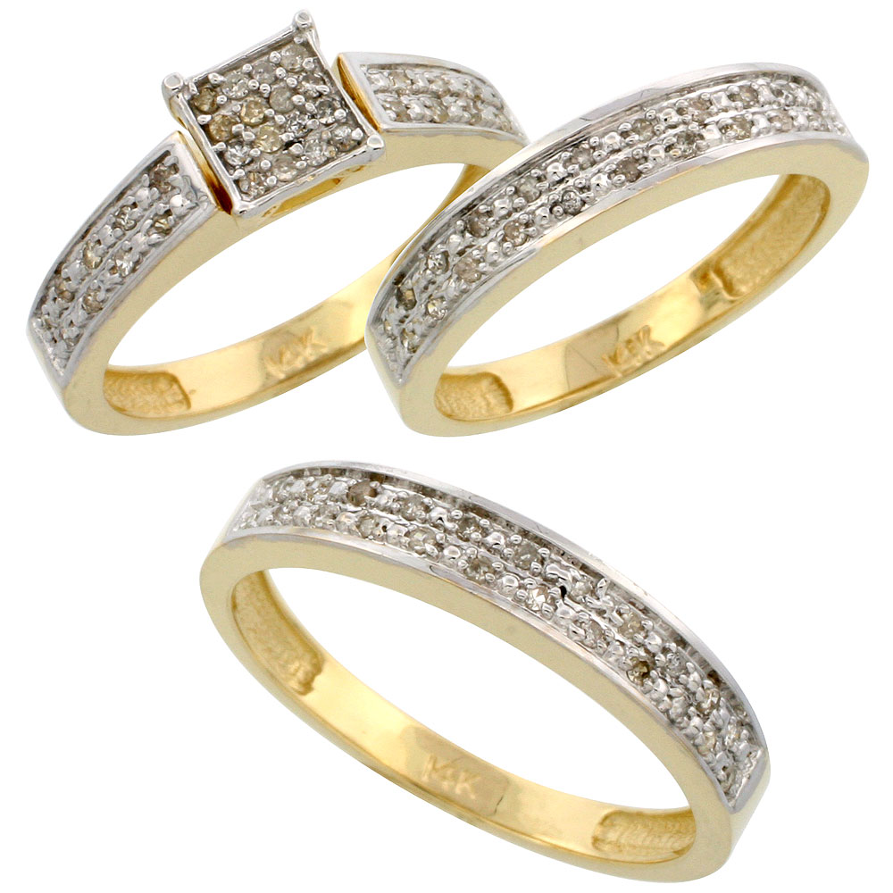 14k Gold 3-Piece Trio His (4mm) & Hers (4mm) Diamond Wedding Band Set, w/ 0.34 Carat Brilliant Cut Diamonds; (Ladies Size 5 to10; Men's Size 8 to 14)