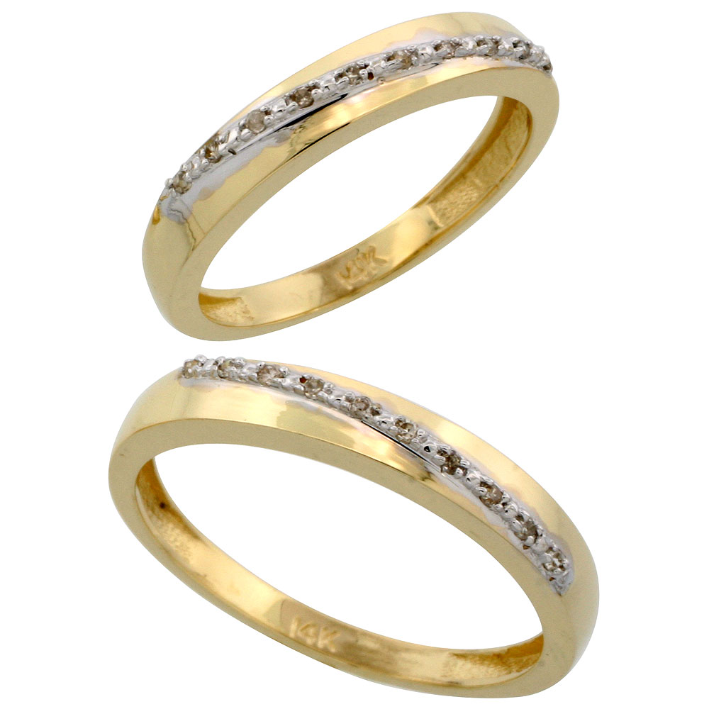 14k Gold 2-Piece His (3.5mm) & Hers (3.5mm) Diamond Wedding Band Set, w/ 0.16 Carat Brilliant Cut Diamonds; (Ladies Size 5 to10; Men's Size 8 to 14)