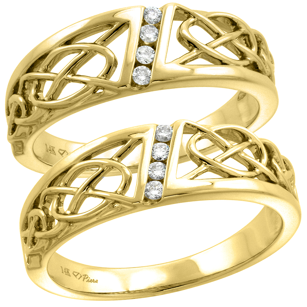 14k Yellow Gold Genuine Diamond Celtic Knot Wedding Band Channel Set 6mm Ladies and 7mm Mens, size 5-10