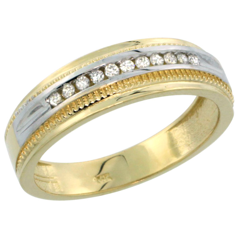 14k Gold 11-Stone Milgrain Design Men's Diamond Ring Band w/ 0.30 Carat Brilliant Cut Diamonds, 1/4 in. (6.5mm) wide