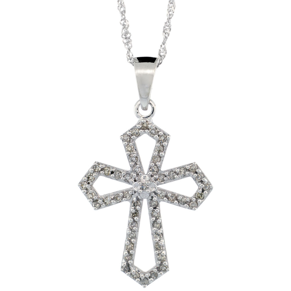 14k White Gold 18 in. Chain & 7/8 in. (22mm) tall Diamond Gothic Cross Cut Out Pendant, w/ 0.31 Carat Brilliant Cut Diamonds