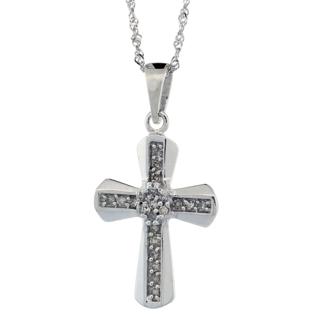 14k White Gold 18 in. Chain & 13/16 in. (21mm) tall Diamond Clustered Cross Pendant, w/ 0.14 Carat Brilliant Cut Diamonds