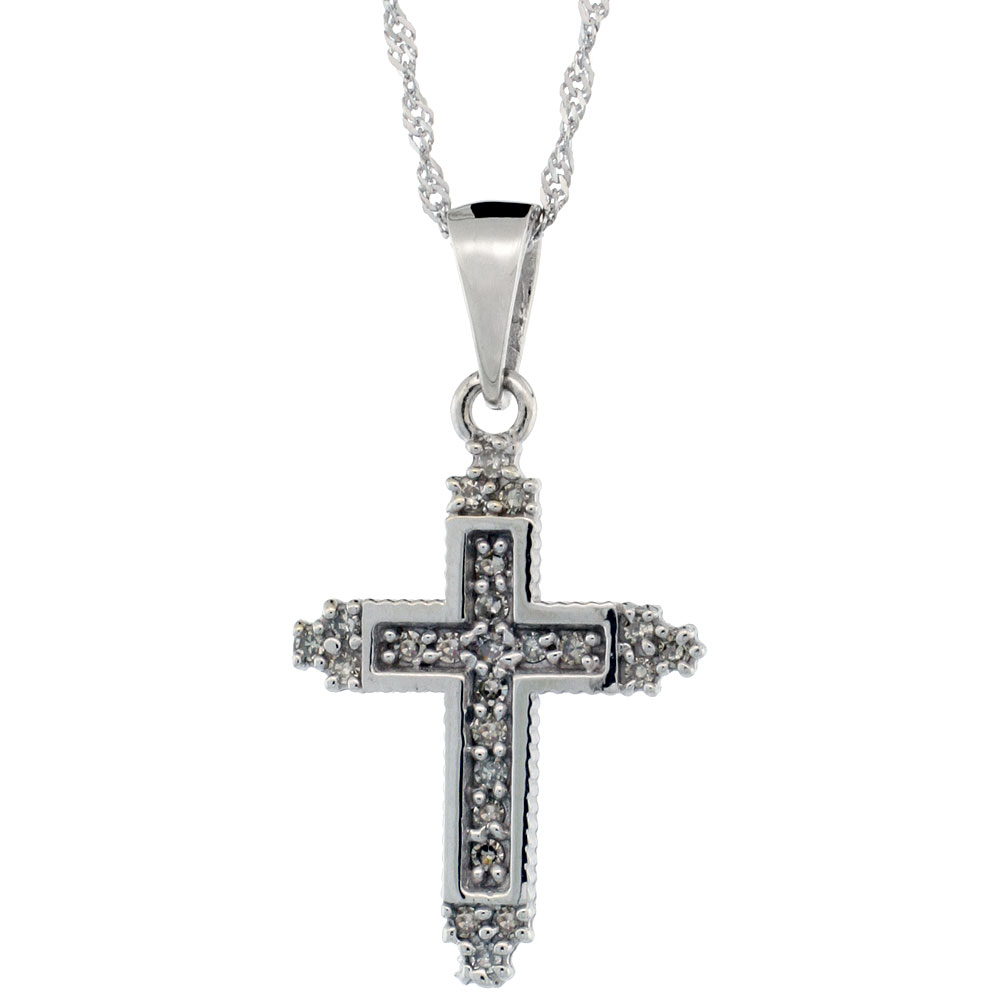 14k White Gold 18 in. Chain & 3/4 in. (19mm) tall Tiny Diamond Fleury Cross Pendant, w/ 0.15 Carat Brilliant Cut Diamonds