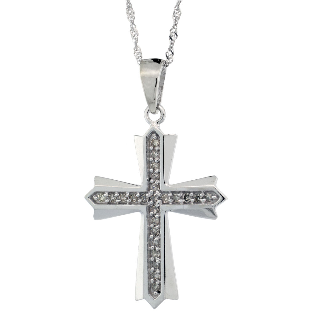 14k White Gold 18 in. Chain & 1 in. (25mm) tall Diamond Cross Patonce Pendant, w/ 0.15 Carat Brilliant Cut Diamonds