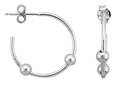 Sterling Silver Beaded Hoop Earrings, 7/8 in. (22 mm)