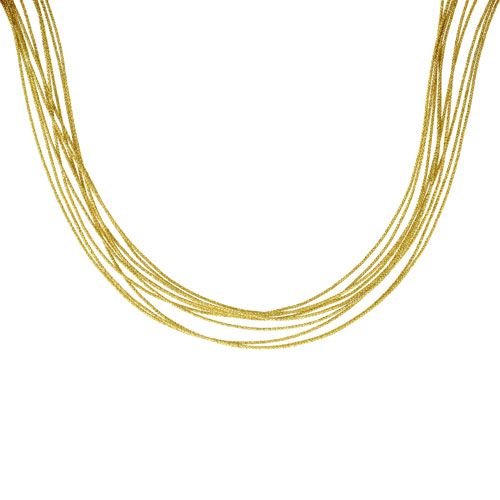Japanese Silk Necklace 10 Strand Yellow, Sterling Silver Clasp, 18 inch
