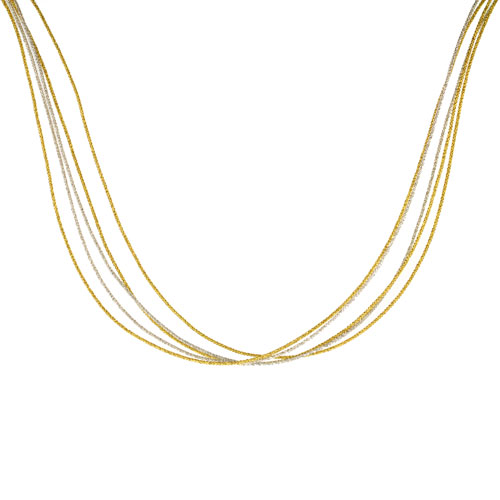 Japanese Silk Necklace 5 Strand Silver & Yellow, Sterling Silver Clasp, 18 inch
