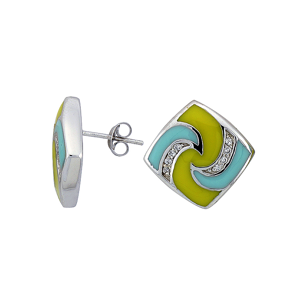 """Sterling Silver 3/4"""" (19 mm) tall Post Earrings, Rhodium Plated w/ CZ Stones, Yellow & Blue Enamel Designs"""