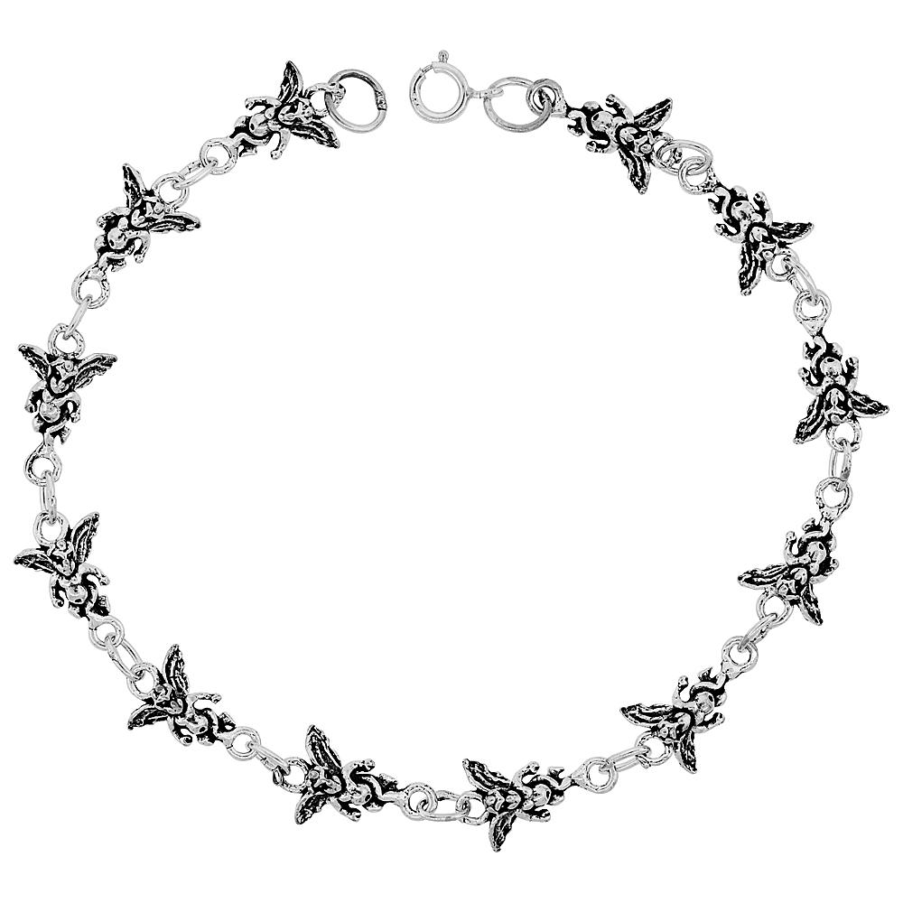 Sterling Silver Dainty Angel Bracelet for Women and Girls, 3/8 wide 7.5 inch long